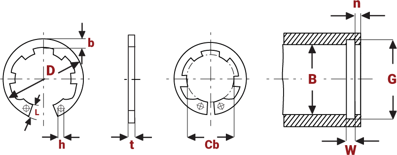 Internal Circlips with Increased Abutment diagram