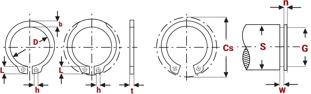 Standard External Circlips Diagram
