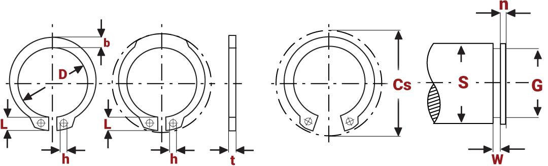 Standard External Circlips Diagram
