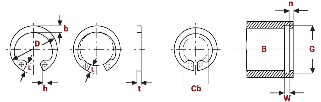 Standard Internal Circlips Metric diagram